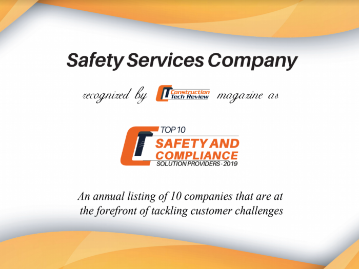 Safety Services Company awarded top 10 compliance solutions providers by Construction Tech Review